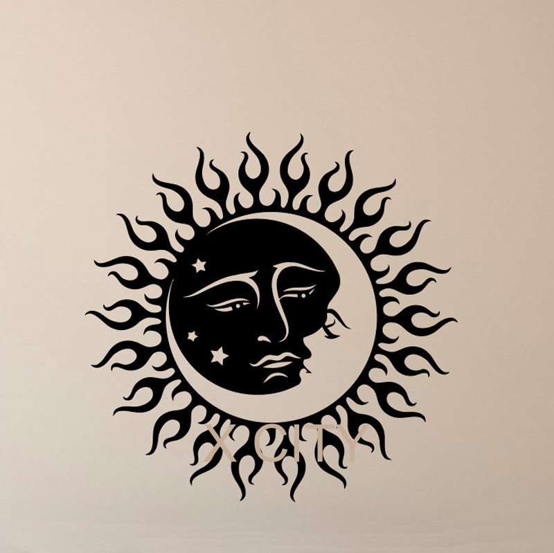 Vinyl Decal Stickers Sun And Moon Moon Crescent Dual ⑤