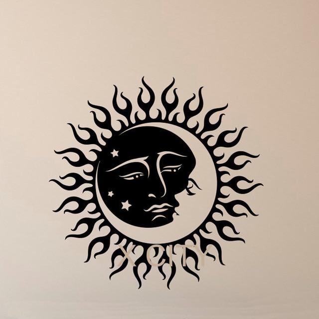 art for bedroom grey vinyl decal stickers sun and moon crescent dual ethnic symbol night stars wall art bedroom dorm