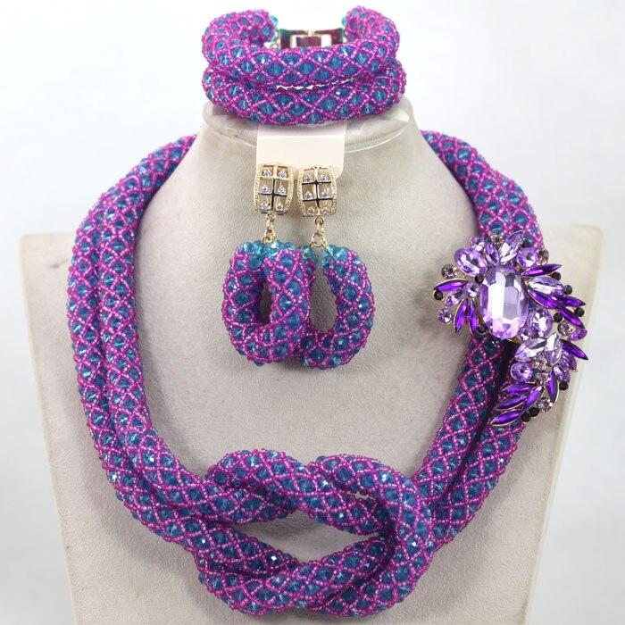2017 New Purple Nigerian Wedding African Beads Jewelry Set Crystal ...
