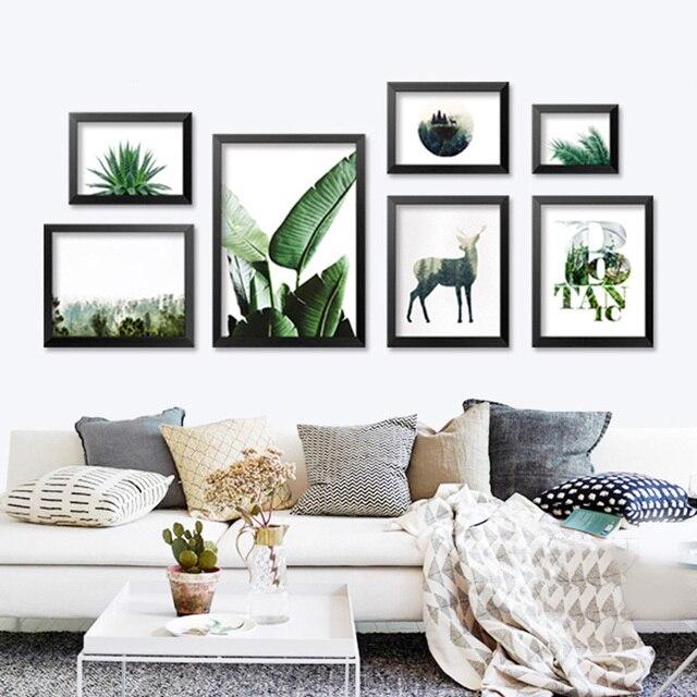 Wand Bilder Für Wohnzimmer Grüne Pflanze Nordic Poster Wand Kunst ...