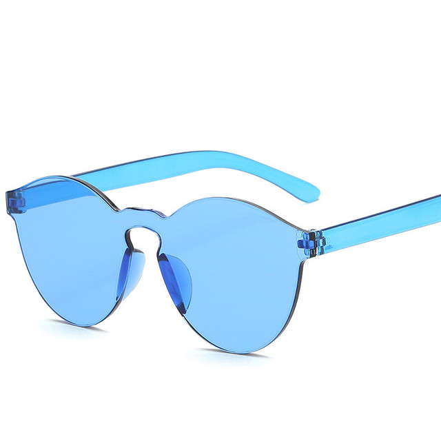 New One Piece Lens Sunglasses Women Transparent Plastic Glasses Men Style Sun Glasses Clear Candy Color Brand Designer