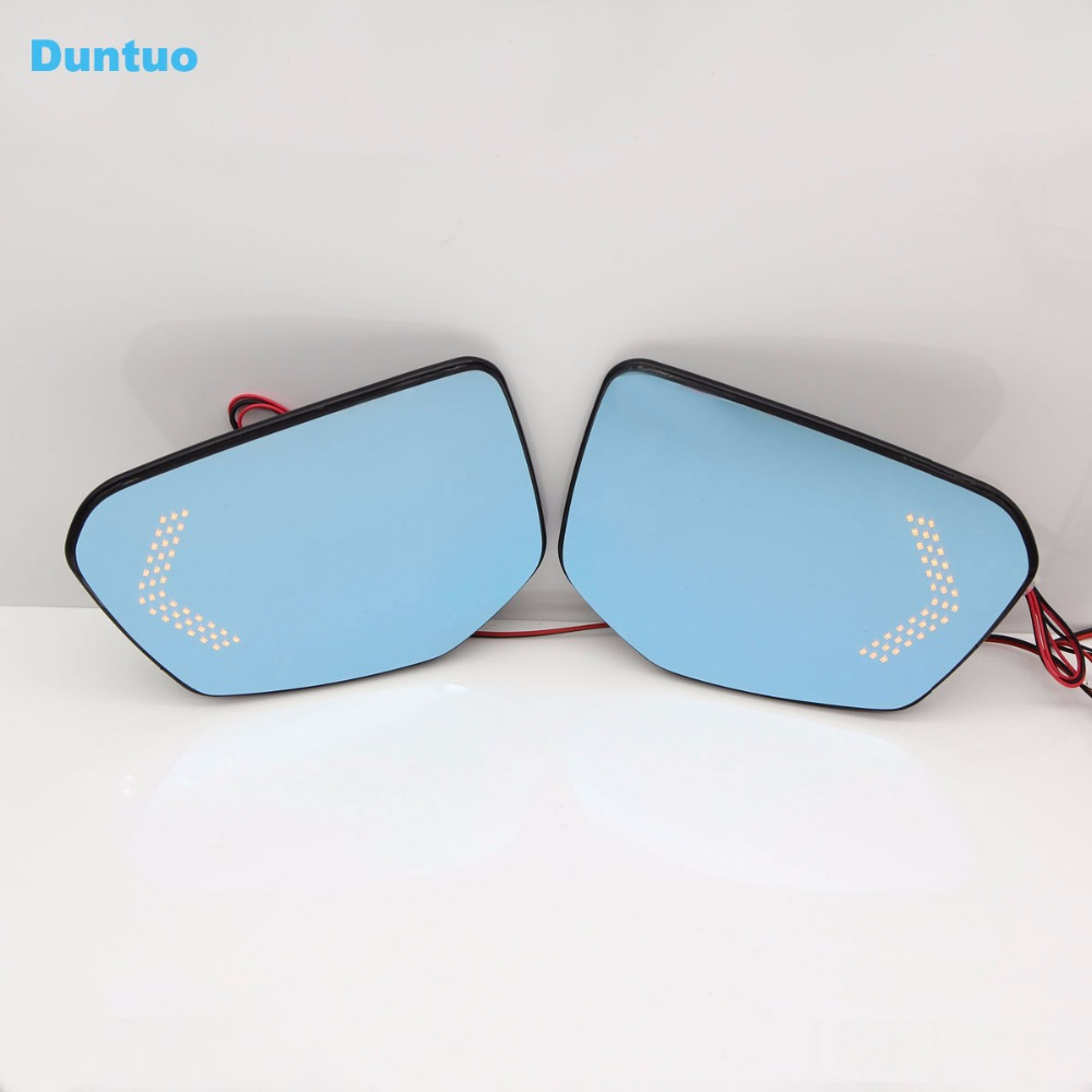 Blue Wing Mirror Glass With Base-Heated Car Angle Wide Glare Proof Mirror LED Turn Signal Lamp For Honda Civic 2016-2017