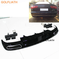 Car Styling Accessories W12 Style Rear Bumper Diffuser Spoiler Exhaust Tip For Audi A6 Non Sline