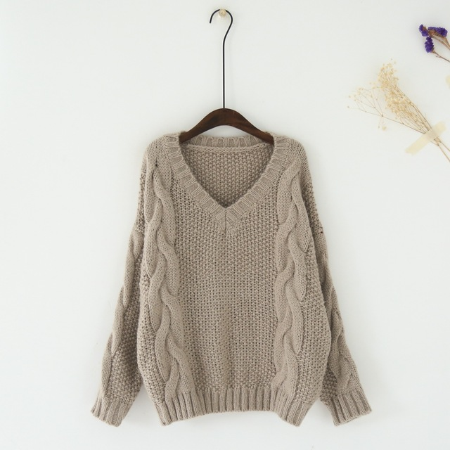 Oversize Cable Knit Pullover Sweater Women V Neck Pattern Jumpers