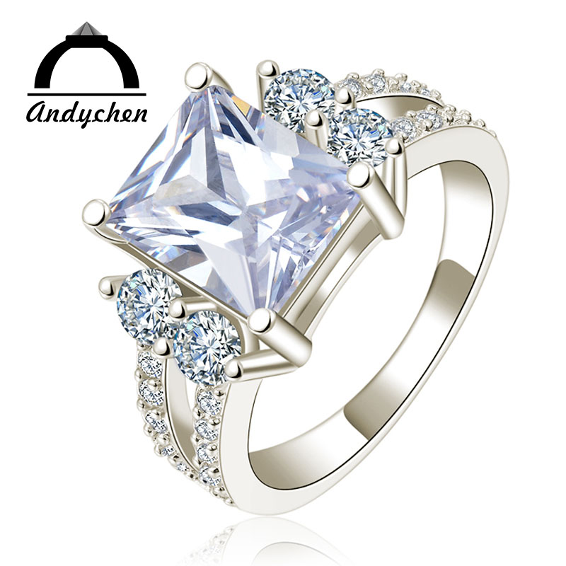 AndyChen Female Bijoux Silver Color Square Crystal Jewelry Engagement Rings for Women Femme Bague Accessories MSR125