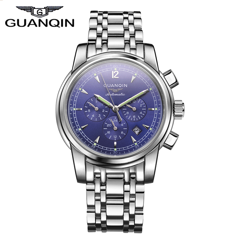 Luxury TOP Gold watches GUANQIN Men Luxury Brand Automatic Mechanical Watch casual Clock hours male Luminous Business Wristwatch