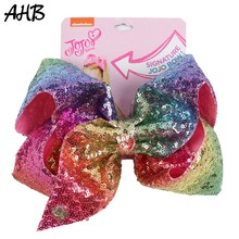 AHB 8 Inch Jumbo JO Bows Sequin Rainbow Hair with Clips for Girls Bowknot Hairgrips Party Kids Accessories