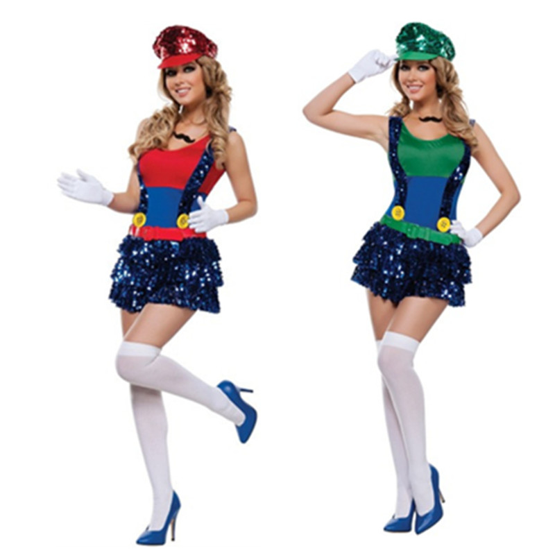 High Quality Halloween Adult Sequin Super Mario Costume Luigi Brothers Dress 2018 New Party sexy Super Mario Cosplay clothing
