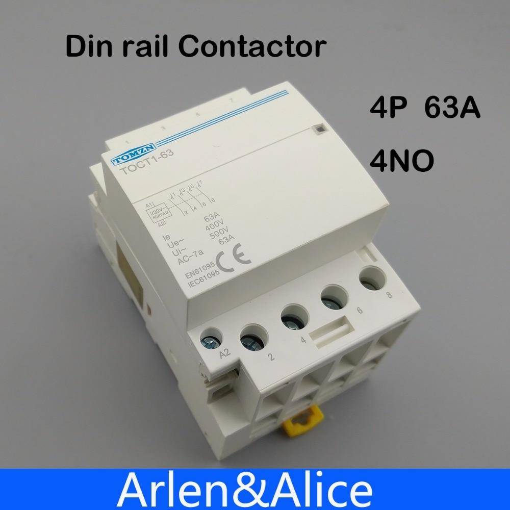 TOCT1 4P 63A 220V COIL 400V~ 50/60HZ Din rail Household ac Modular contactor 4NO 2NO 2NC 4NC toct1 4p 63a 230v ac dc coil 50 60hz din rail household ac modular contactor