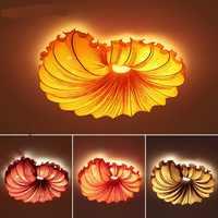 Chinês moderno luzes de teto do quarto quarto romântico casamento rodada concha criação artística multi cor da lâmpada do teto