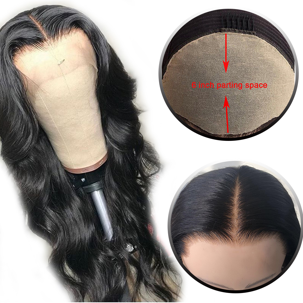 HD Transparent Invisible Lace 13*6 Lace Front Human Hair Wigs Body Wave Brazilian Human Hair Wigs For Black Women Natural Color