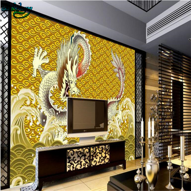 beibehang 3d sea dragon background wall living room large custom ...