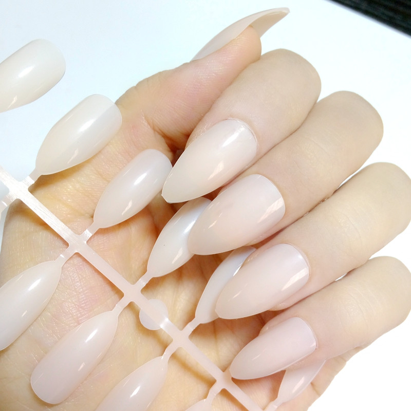 24Pcs Shiny Clear Natural Stiletto Nails Acrylic Fake Simple Candy Nail Art Tips Plastic Faux Ongle Easy DIY E241