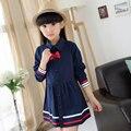 2016 Fashion Girls Long Sleeve School Dresses Lovely Bow Children Polo Shirts High Quality Toddler Girls Princess Autumn Dress