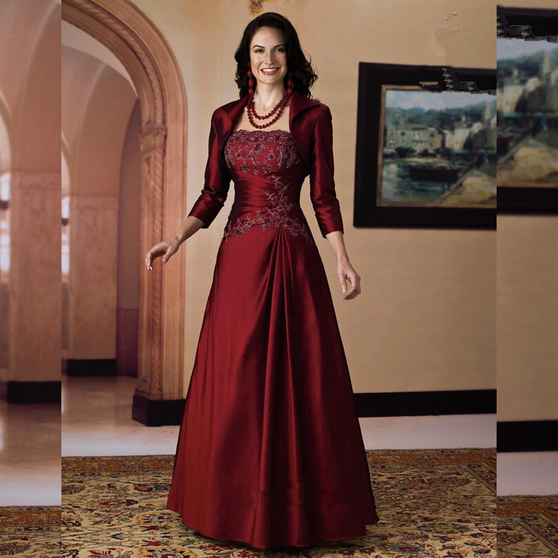 0faec5faa76 Burgundy Mother of The Bride Dresses Plus Size Strapless A Line Floor  Length Bride of The Mother Dresses Vestidos De Noche