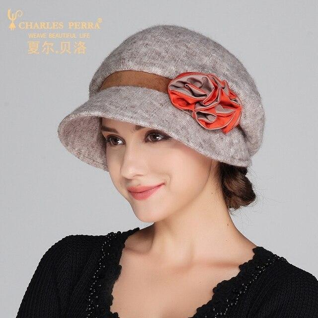 Lady New Wool Hat Elegant Leisure Small Flower Fashion Winter Hat Hat Cap Wool Hat with Flower Decoration B-4183