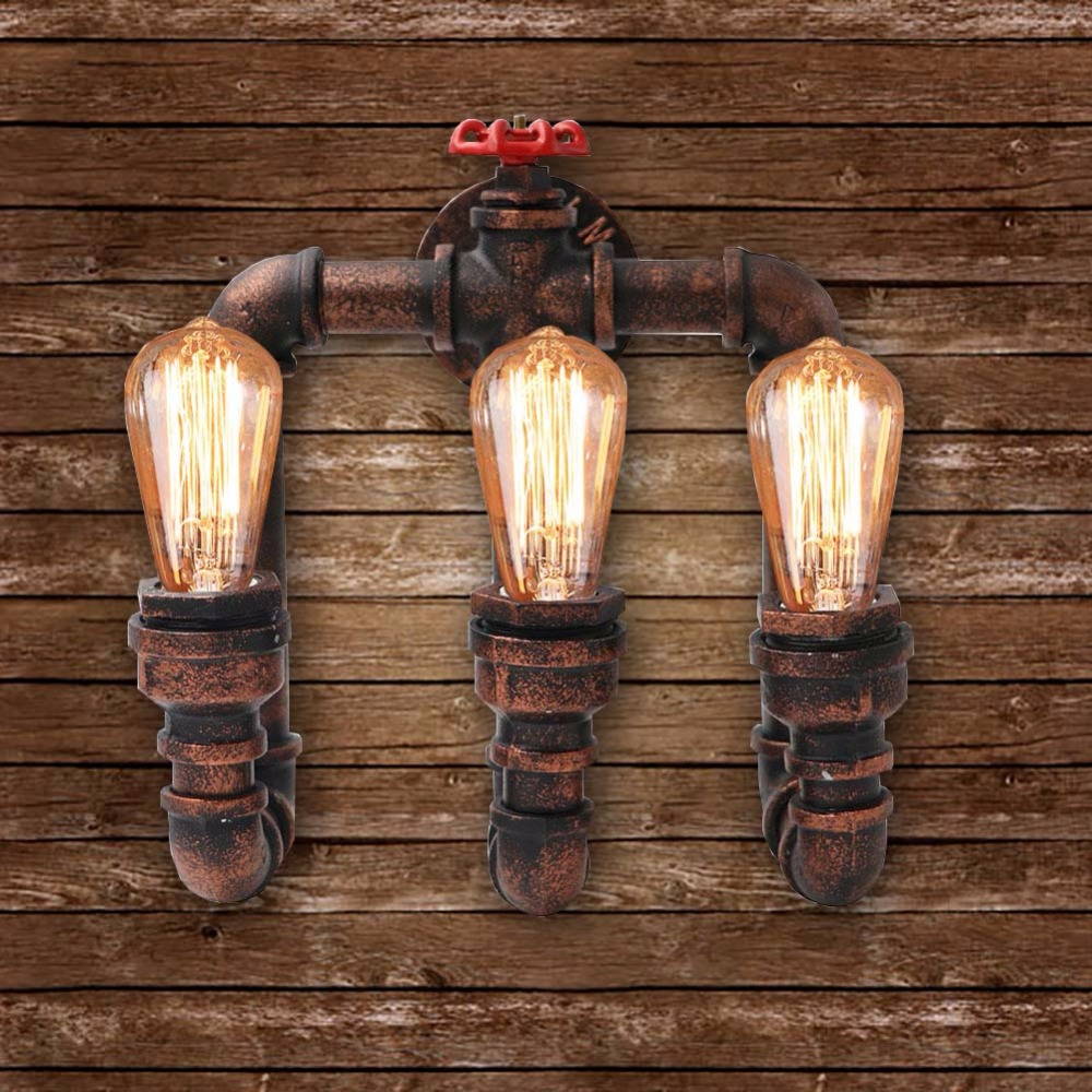 3 Head Loft Industrial Wall Lamps Antique Edison Wall lights with Bulbs E27 Vintage Pipe Wall Lamp for Living Room Lighting loft industrial wall lamps antique edison wall lights e26 e27 110v 220v vintage pipe wall lamp for living room indoor lighting