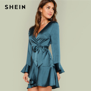 Image 2 - SHEIN Blue Party Elegant Sexy Split Back Ruffle Trim Overlap Front Belted Deep V Neck High Waist Solid Autumn Dress For Women