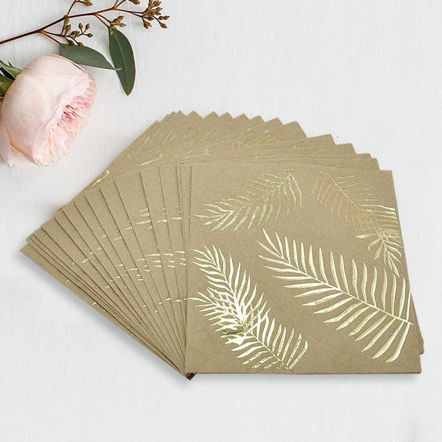 Golden Leaves Printed Square Napkin Set 16 Pcs