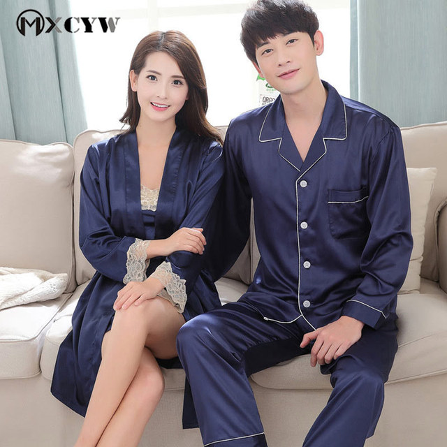 Summer Couples Pajamas Sets Women Silk Nightgown Two pieces Female Nightwear Sleepwear Clothes Plus Size pijama feminino