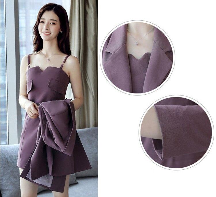 Autumn Business Suit Elegant Office Dress Lady Work 2 Pieces Set Long Sleeve Blazer and Sleeveless Dress Suit Set 16