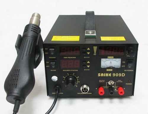 220 V SAIKE 909D Hàn/Hot air gun rework trạm 3 in1 Hàn sắt + Hot Air Gun + Cung Cấp điện + Hàn quà tặng