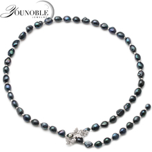 Trendy black freshwater pearl necklace for women,natural long jewelry wife party gift 700mm