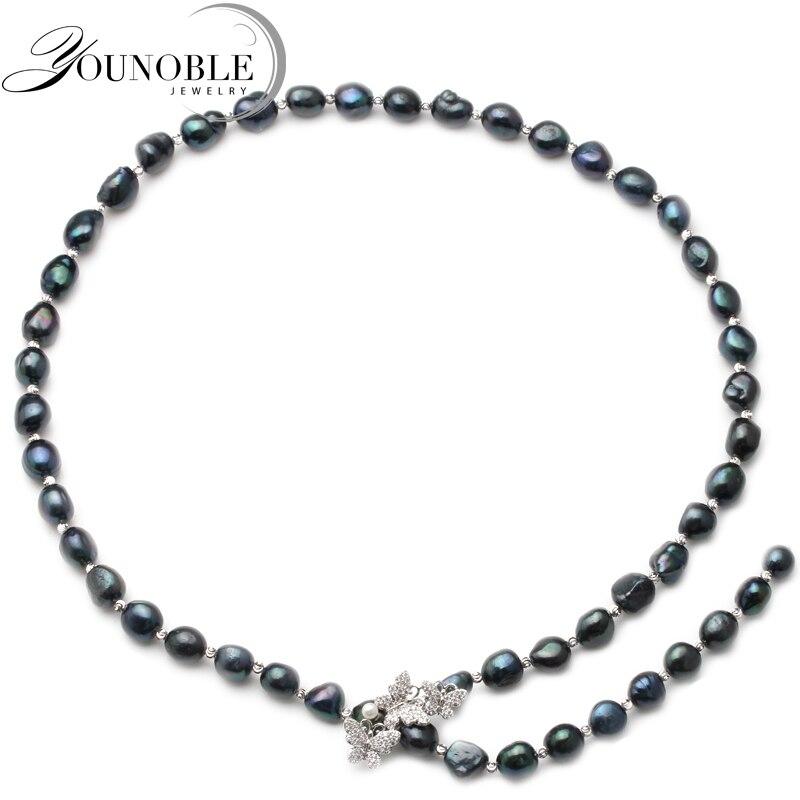 Trendy nero d'acqua dolce collana di perle per le donne, naturale lunga collana di perle gioielli moglie regalo del partito 700mm