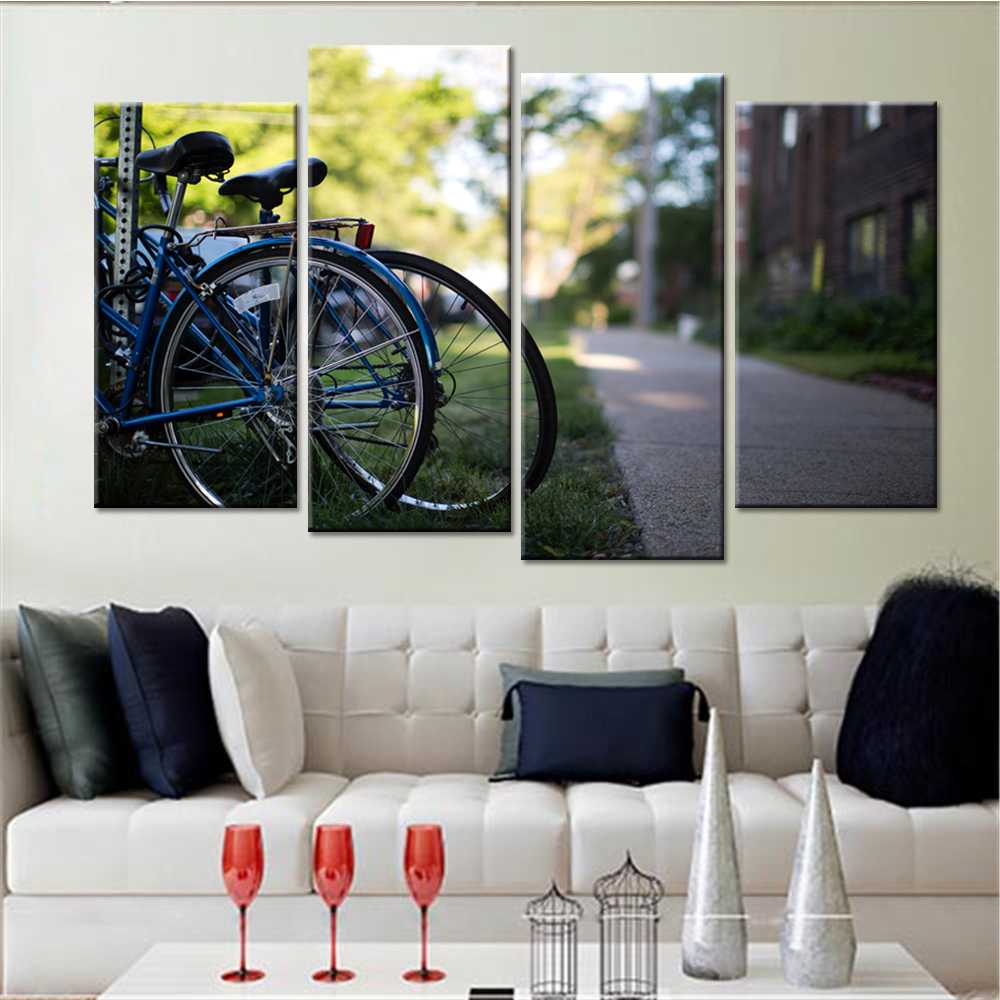 newest panels drop shipping cuadros modernos no frame bicycles landscape modern canvas art painting for