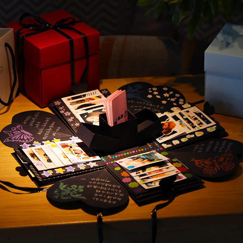 Heiße Explosion Geschenk Box DIY Fotoalbum Aufbewahrungsbox Geburtstag valentinstag Geschenk mit Arten von DIY Zubehör Kit Handgemachtes Geschenk Box