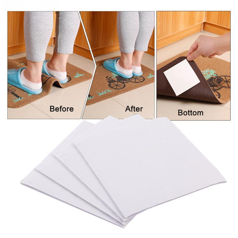 Us 1 18 12 Off 4pcs Lot Reusable Floor Mat Anti Slip Rug Carpet Gripper For Bathroom Kitchen Silicone Washable Sticker Anti Curling Square Pad In