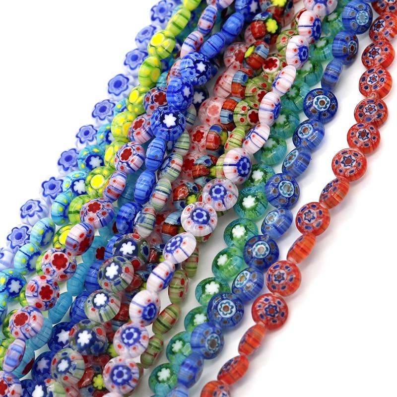 8x4mm 50pcs/lot Free Shipping Round Shape Beads Glass Millefiori Flower Lampwork Beads for Bracelet Jewelry Making & DIY Craft(China)