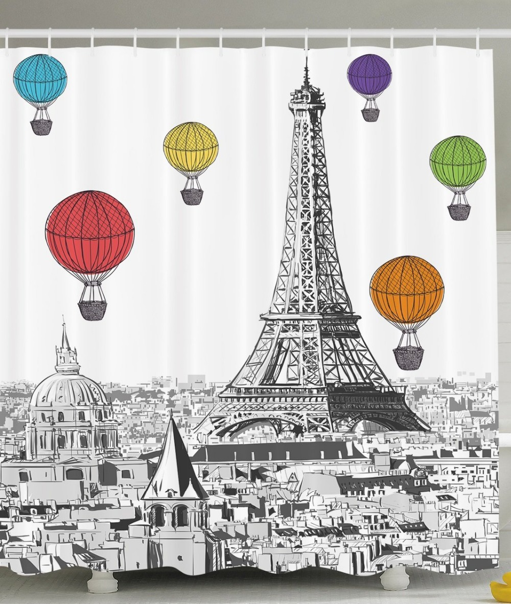 Shower Curtain Art Notre Dame with Colorful Hot Air Balloons ...