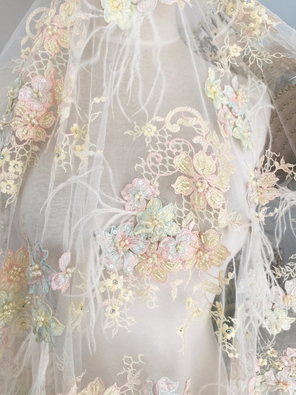 Luxury 3d pearl beaded lace fabric with feather and pastel for Bridal fabric