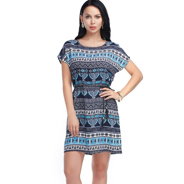 AIEnny Women Bandage Bohemian Summer Elasticity Casual Short Sleeve Dresses Cotton