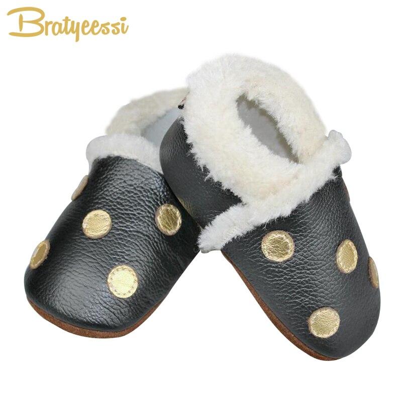 Fashion Genuine Leather Baby Moccasins Dot Warm Winter Baby Shoes Boy Black Anti-Slip Toddler Shoes