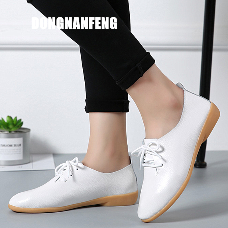 Image 3 - DONGNANFENG Women Ladies Female Mother Leather Shoes Flats Loafers Cow Genuine Leather Pigskin Lace Up Moccasins 35 41 XXH 929Womens Flats   -