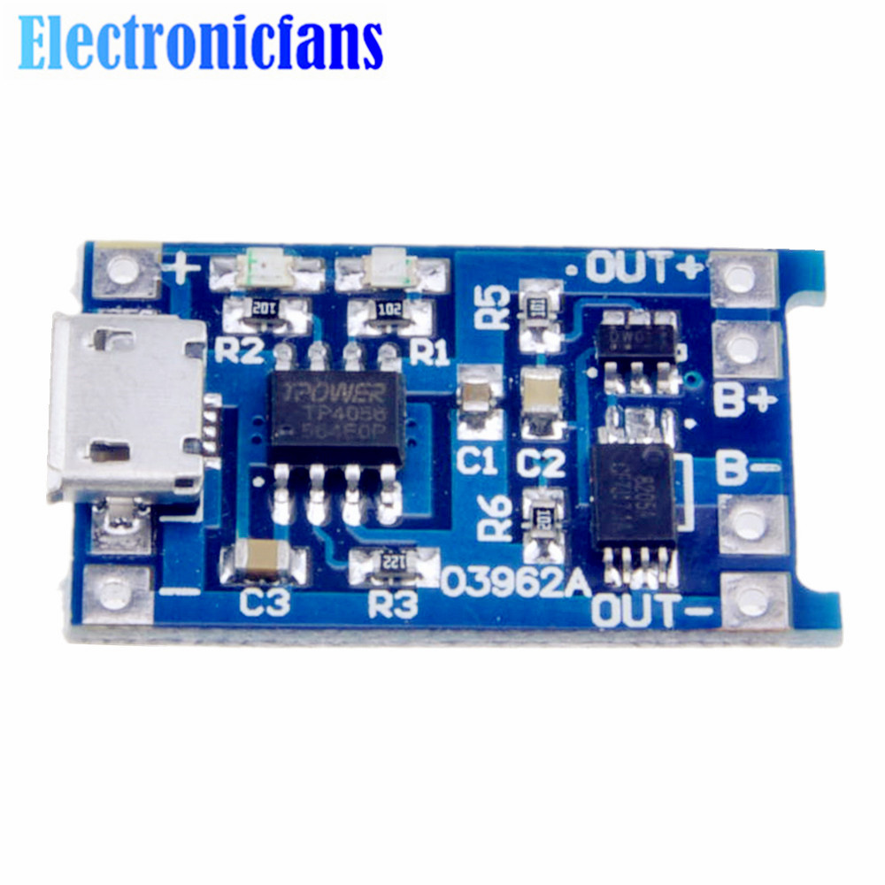 Automatic Protection! 5PCS Micro USB 5V 1A 18650 TP4056 Lithium Battery Charger Module Charging Board With Dual Functions
