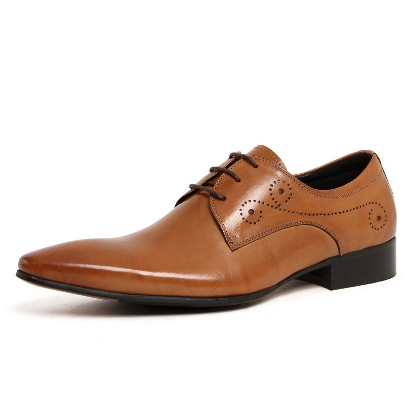 Brand Fashion Men Oxford Shoe Genuine Leather Pointed Toe Black Wedding Dress Shoes Plus Size Party Male Formal Shoes JS A0025 in Formal Shoes from Shoes