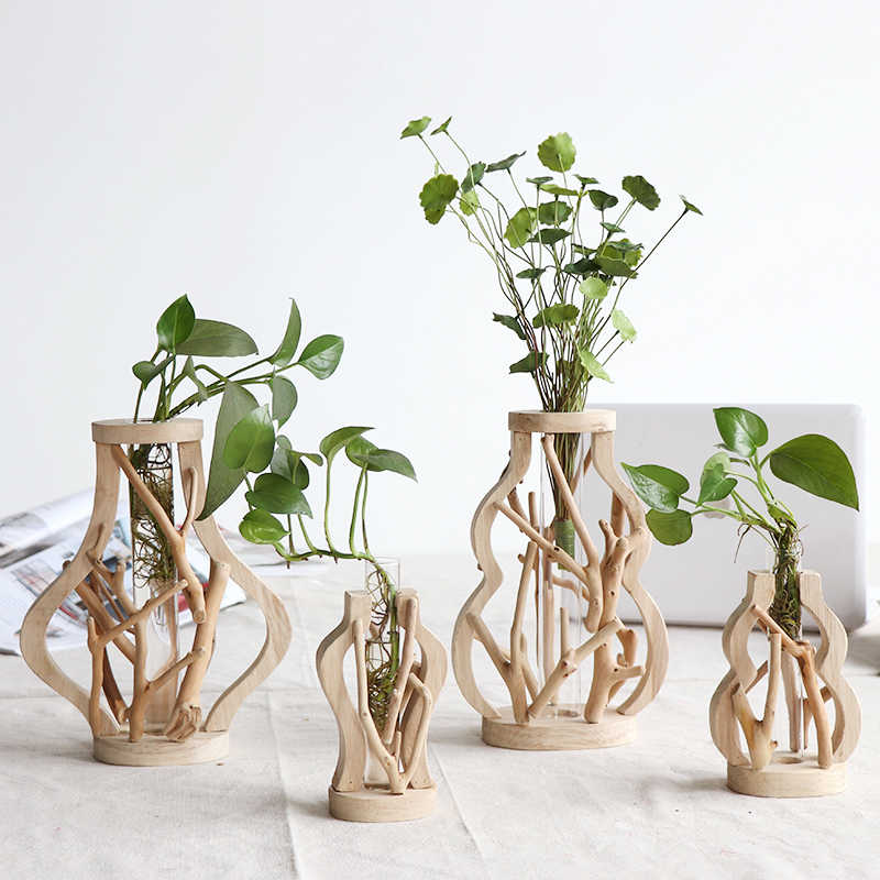 Pure Handwork Wooden Vase Decorated with Solid Wood Flower Pot for Water Planting Creative Home Decorative Vase