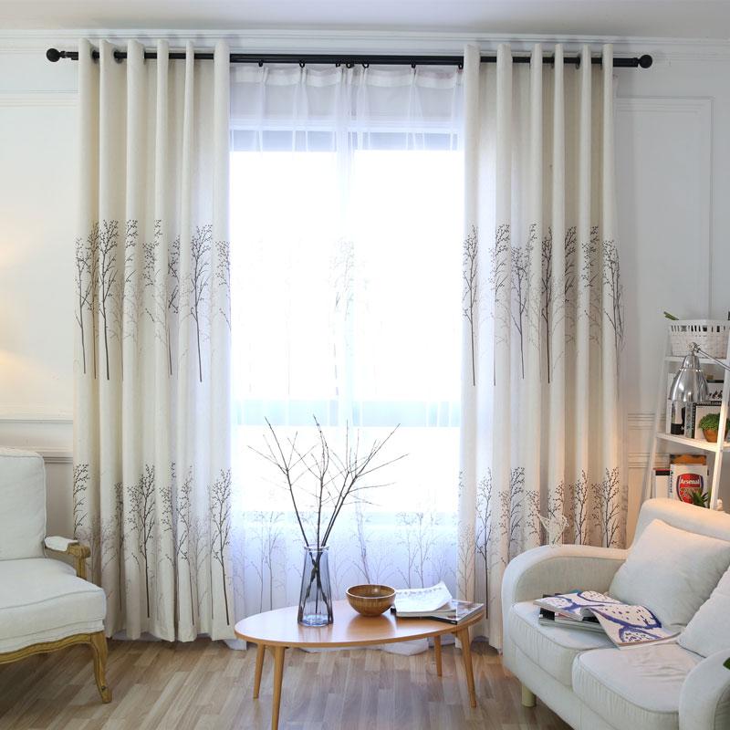 パストラル綿カーテンリビングルーム植物印刷ドレープ装飾用窓半遮光キッチンカーテンBZG1302|cotton curtains|curtain living roomfor window -
