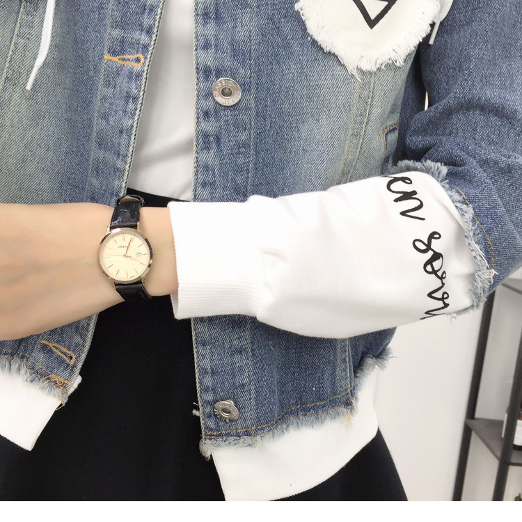 New Autumn Casual Hooded Short Denim Jacket Women Fashion Splicing Patch Coat Plus size Pockets Loose Jackets Jeans Coat Female 56