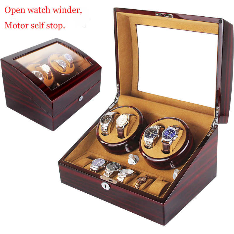 High Quality Watch Winder Open Motor Stop Luxury Automatic Watch Display Box Winders 2-3, 4-0, 4-6 Wood Leather Box Winder