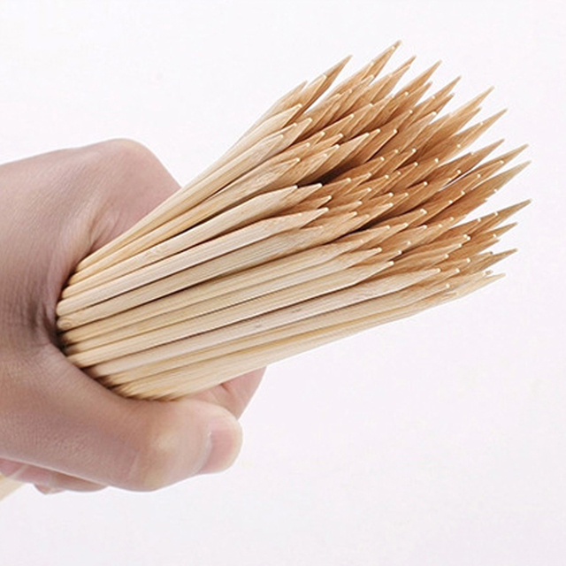 55/90 Pcs Bamboo Skewers Wooden Barbecue Wood Sticks 4