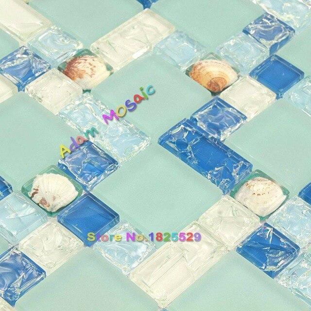 Glas Fliesen Blauen Mosaik Küche Backsplash Sea Shell Fliesen Badezimmer  Wand Matt U Bahn Deco