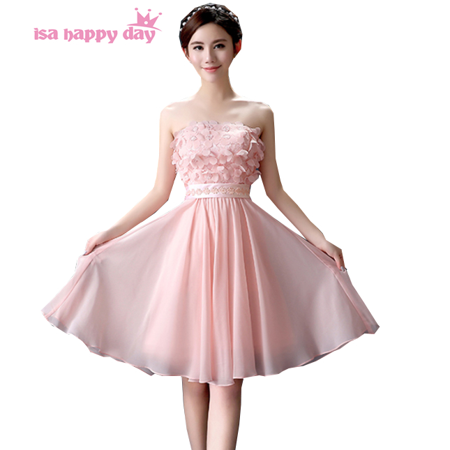 2019 a line sexy new sweetheart modest elegance short strapless bridesmaid dress light pink chiffon for wedding party H3604