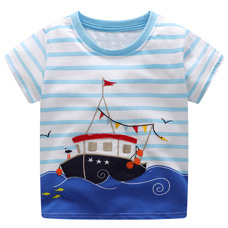 Jumping Meters Boys Tops&Tees Kids T-shirt 2018 Brand Baby Boy Summer Clothes Animal Striped Boy t shirts Children Clothing