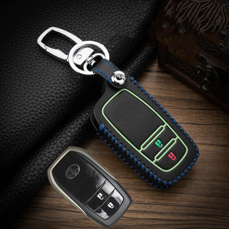 Image 5 - Hand sewing Luminous Leather Remote car Key Cover Case For Toyota CHR C HR Prado 2017 2018 Prius Camry Corolla RAV4 2018 Protect-in Key Case for Car from Automobiles & Motorcycles