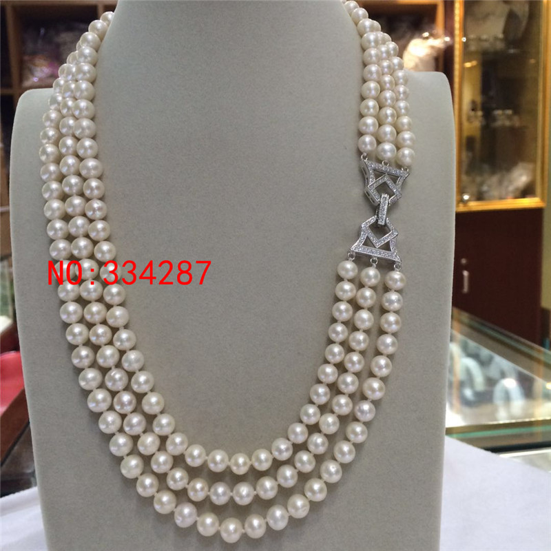 beautiful 3 rows AAA 7-8mm White Round Freshwater Cultured Pearl Necklace pearl necklace classic 3 rows 7 8mm round white freshwater pearls green ja des necklace perfect women chirtstmas gift