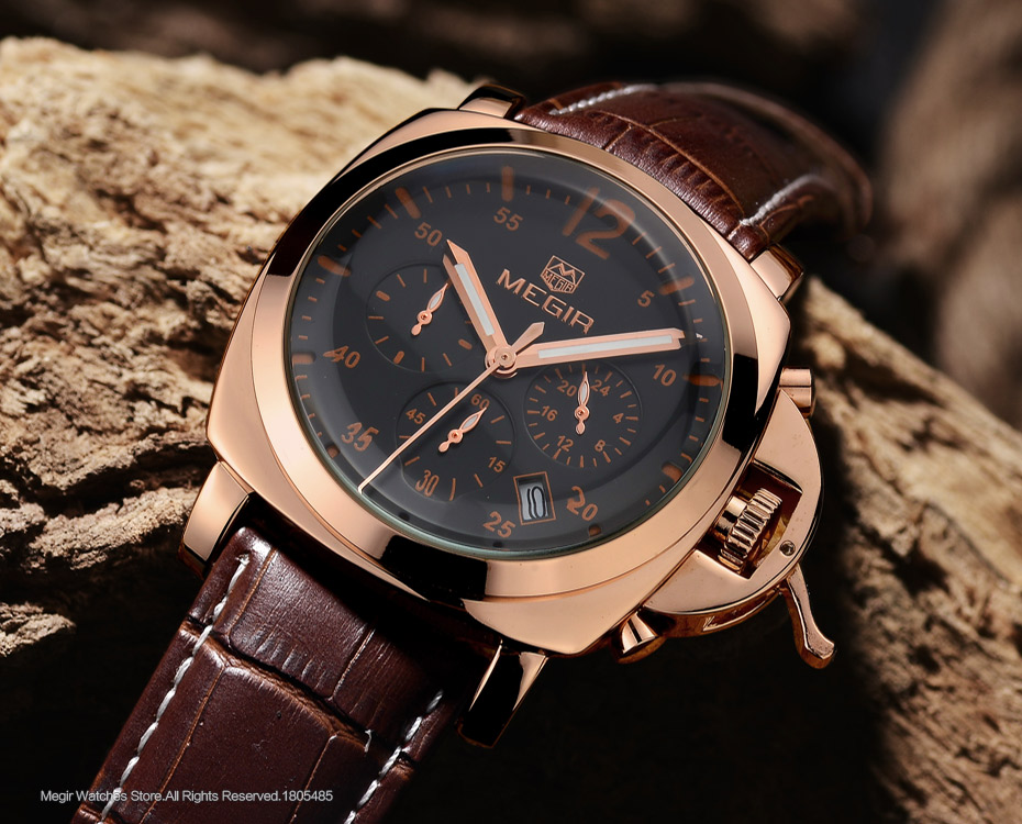Megir 3006 mens fashion quartz watch waterproof wristwatch genuine leather strap watches man free shipping